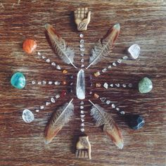 art hippie design boho nature feathers bohemian decor rocks crystals Wood gypsy…