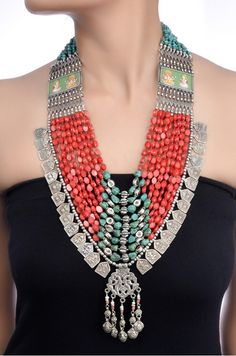 Amrapali: Silver Turquoise and Coral Bead Necklace