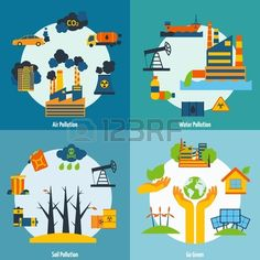 Ecology design concept set with air water and soil pollution flat icons isolated vector illustration. Stock Photo - 36519894