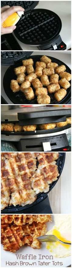 Perfect hash browns every time! Waffle Iron Hash Brown Tater Tots - FamilyFreshMeals.com Tater Tot Waffle, Tater Tots, Waffle Maker Recipes, Waffle Batter Recipe, Waffle Toppings, Quesadillas, Breakfast Dishes, Breakfast Recipes, Breakfast Time
