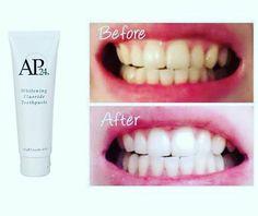 Avec le dentifrice blanchissant AP-24, retrouvez la teinte injtiale de vis dents !!! Pas d'agent blanchissant nocif pour l'émail de vos dents ❤  Code parrainage sur  le site Nuskin France : FR3398435