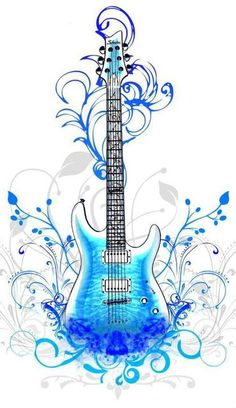 hope u too blue guitar. Music Drawings, Music Artwork, Art Music, Guitar Drawing, Guitar Art, Blue Guitar, Music Tattoo Designs, Music Tattoos, Full Hd Wallpaper