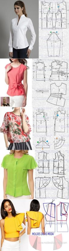 Idee Per Cucito Woman Accessories wonder woman costume accessories sale Skirt Patterns Sewing, Blouse Patterns, Clothing Patterns, Blouse Designs, Costura Fashion, Sewing Collars, Sewing Blouses, Couture Sewing, Fashion Sewing