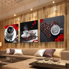 3 Panel Print Coffee Cup Vintage Canvas Painting Wall Pictures for Kitchen Coffee Shop Wall Decor Painting Canvas Prints Kitchen Wall Units, Paint For Kitchen Walls, Kitchen Posters, Kitchen Art, Kitchen Pictures, Living Room Pictures, Wall Pictures, Canvas Home, Wall Canvas