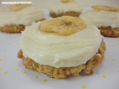 Eat Cake For Dinner: Banana Oatmeal Cookies with Vanilla Frosting