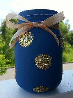 Glittered Mason Jars Navy Blue Painted Mason Jar by Jones4Blush, $6.25