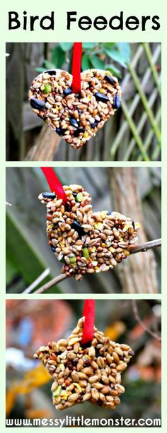 Messy Little Monster: Simple step by step instructions for how to make a bird feeder using a biscuit cutter. Simple kids activity suitable for preschoolers, early years, eyfs. spring crafts Homemade Bird Feeders - easy diy bird feeders for kids to make Bird Feeders For Kids To Make, Make A Bird Feeder, Homemade Bird Feeders, Birds For Kids, Bird Seed Feeders, Bird Feeder Craft, Spring Activities, Craft Activities, Nature Activities