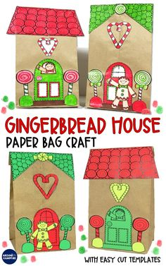 These fun paper bag gingerbread house templates make a perfect holiday craft for kids. An easy and f Christmas Gifts For Parents, Christmas Activities For Kids, Holiday Crafts For Kids, Preschool Christmas, Kids Christmas, Xmas, Gingerbread Man Activities, Gingerbread Crafts, Gingerbread Village