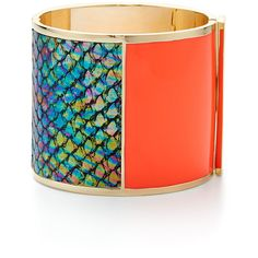 Rental Sarah Magid Neon Masquerade Cuff ($40) ❤ liked on Polyvore featuring jewelry, bracelets, multi color jewelry, gold plated jewellery, tri color bangles, sarah magid and multicolor jewelry