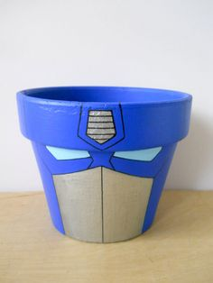 I want a Spiderman, Wolverine and Iron Man! Transformers Birthday Parties, 6th Birthday Parties, Boy Birthday, Birthday Ideas, Painted Clay Pots, Painted Flower Pots, Flower Pot Crafts, Clay Pot Crafts, Rescue Bots Birthday