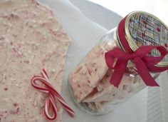 peppermint bark in a jar