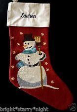 POTTERY BARN CREWEL EMBROIDERED CHRISTMAS STOCKING RED SNOWMAN *LAUREN* NEW
