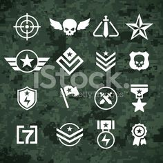 Modern military camoflage pattern and military army and combat symbols. Included is a reticle, crosshair, stars, ranks, ribbons and other symbols. Transparency effects used on highlight. Badge Design, Icon Design, Logo Design, Logo Sketch, Game Icon, Free Illustrations, Free Vector Art, Art Logo, Royalty Free Images