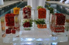 Ice Sculpture in Vail | Fun Wedding Crudite Display (cool with LED light)