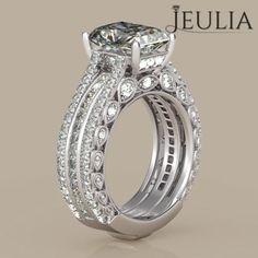 360 View of Milgrain Emerald Cut Created White Sapphire Women's Engagement Ring /Bridal Ring Set