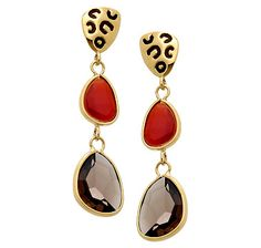 Sigal Style Smokey Quartz & Carnelian Sterling Silver & Gold Plate Earrings