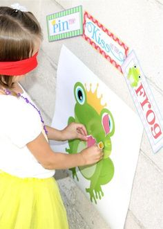 Pin the Kiss on the Frog game at a Princess party! See more party ideas at CatchMyParty.com! #partyideas #princess
