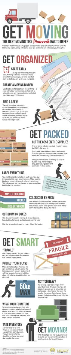 Infographic Get Moving The Best Moving Tips Pinterest Has To Offer | Infographics Creator