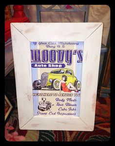 Wall decor Woodys Auto Shop by JsFourLeaf on Etsy