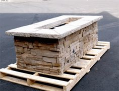 "61"" x 31"" Rectangle Custom Stone Fire Pit"