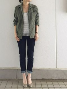 striped tee, utility jacket, dark jeans, nude heels