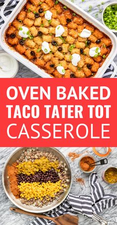 Cheesy Mexican Taco Tater Tot Casserole -- give this yummy taco tater tot casserole a try for your next Taco Tuesday! Taco-spiced saucy ground beef, black beans, and corn, topped off with crispy tater tots and cheese makes for an easy family-favorite dinner. #cansforcomfort #easyrecipe #casserole #casserolerecipes #casserolerecipeseasy #tatertots #tatertotcasserole #tacocasserole #tacotuesday #mexicancasserole Lunch Recipes, Mexican Food Recipes, Dinner Recipes, Breakfast Recipes, Dessert Recipes, Tater Tots, Mexican Tater Tot Casserole, Taco Casserole, Easy Cooking
