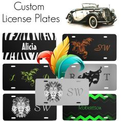 Design license plates. Add name or monogram to these and many more found at Zazzle stores  http://www.zazzle.com/collections/custom_license_plates-119585728452472933?rf=238207742997519561&tc=poly