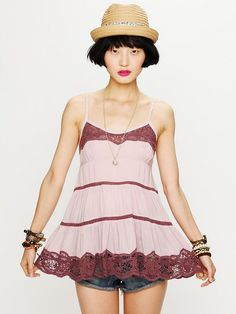 Free People Vicose Voile Tiered Babydoll Cami in Pink (wisteria) | Lyst