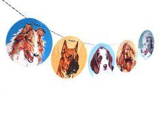 Vintage Paint By Number Dog Garland, photo reproductions on felt, childs room decor, collie, boxer, beagle, springer, poodle