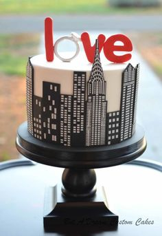 NYC Engagement Cake By Elisabeth Palatiello