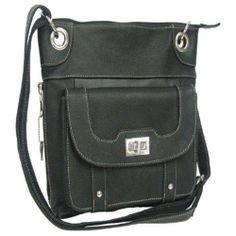 Rakuten.com:Handbags Bling and More|Black Genuine Leather Turnlock Concealed Purse