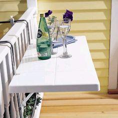 small balcony bar idea This would make a great little shelf on the deck also! small balcony bar idea This would make a great little shelf on the deck also! Small Deck Ideas On A Budget, Small Deck Decorating Ideas, Decor Ideas, Balustrade Balcon, Deck Table, Deck Bar, Porch Bar, Front Porch, Dining Table
