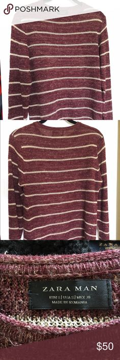 ⚡️✨Cream Striped Maroon Crochet Sweater ⚡️ ⚡️✨Cream Striped Maroon Crochet Sweater ⚡️ Zara Sweaters