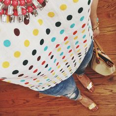 Blogger Respect the Shoes sports our spotty Millie top. #Boden