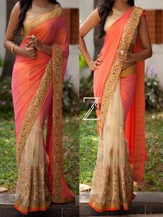 Beige with Peach Designer #Bollywood #Replica Sequence Work #Saree …