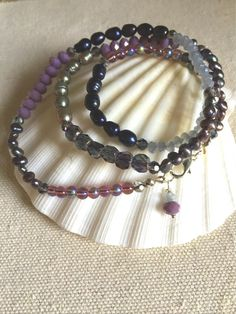 Purple Beaded Wrap Bracelet Purple Bead and Pearl by LaniMakana