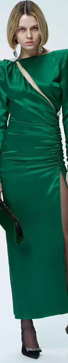 Alessandra Rich Fall 2018 RTW Turquoise Fashion, Green Fashion, Colorful Fashion, I Love Fashion, Fashion Show, Autumn Fashion, Classic Fashion, Fashion Week 2018, Green Silk