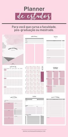 Agenda Planner, Study Planner, Blog Planner, Planner Pages, Planner Template, Printable Planner, Bullet Journal Hand Lettering, Planners, Student Binders