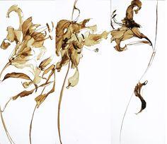 029 Pen And Watercolor, Watercolor Flowers, Watercolor Paintings, Watercolors, Paintings I Love, Flower Paintings, Plant Drawing, Encaustic Art, Art Graphique