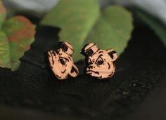 Baylor Sailor Bear engraved wood stud earrings