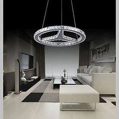 Round LED Crystal Pendant Lighting Chandeliers Lights Lamps Fixtures AC 100 to 240V Transparent K9 Crystal – USD $ 259.99