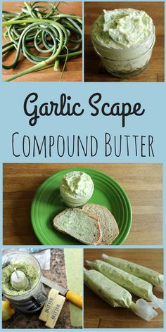 Looking to use up your garlic scapes? Use a food processor to create garlic scape compound butter and freeze some for cold winter days. Garlic Recipes, Vegetable Recipes, Vegetarian Recipes, Cooking Recipes, Healthy Recipes, Recipe For Garlic Scapes, Healthy Cooking, Flavored Butter, Butter Recipe
