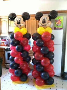 mickey mouse balloon columns easy to make all u Mickey Mouse Birthday Decorations, Mickey 1st Birthdays, Mickey Mouse Balloons, Fiesta Mickey Mouse, Theme Mickey, Mickey Mouse Baby Shower, Mickey Mouse Clubhouse Birthday Party, Mickey Mouse 1st Birthday, Mickey Mouse Parties