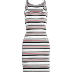 T by Alexander Wang - Striped Ribbed-knit Wool Mini Dress ($116) ❤ liked on Polyvore featuring dresses, alexander wang, multi, stripe dresses, short colorful dresses, short a line dresses, wool dress and sporty dresses