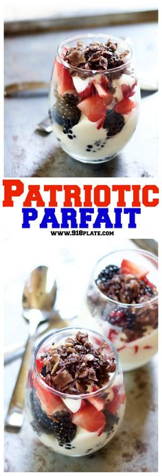 Completely constructed from local finds, this patriotic parfait will have you waving the flag of surrender to this fruity treat!