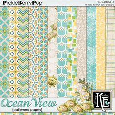 Ocean View Patterned Papers  :: Coordinates with the entire Ocean View Digital Scrapbooking Collection by Kathryn Estry @ PickleberryPop  $3.99