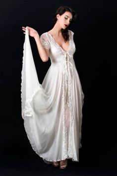 long negligees | Liliana Casanova Opera - Long Silk Negligee - Luxury French Sleepwear