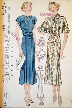 Mid 30s vintage fashion style color illustration print ad day dress blue floral long skirt belt pleated cape scarf shoulder accent shoes hat hair Customode 8352 (Simplicity) (c. 1936)