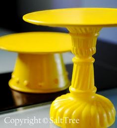Super cheap DIY cupcake and cake stands! Made form candlesticks, saucers, burner covers, terra cotta pots...