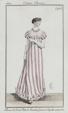 Journal des dames et des modes / Costume Parisien: 15 Mars, 1809 (1b) 1800s Fashion, 19th Century Fashion, Victorian Fashion, Vintage Fashion, Ladies Fashion, Fashion Fashion, Victorian Dresses, Victorian Gothic, Steampunk Fashion